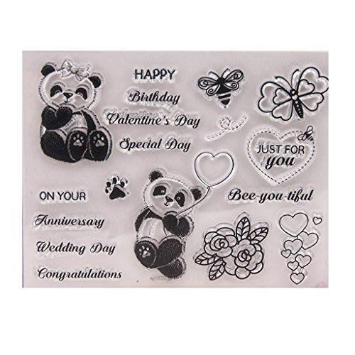 ECMQS Cute Panda DIY Transparente Briefmarke, Silikon Stempel Set, Clear Stamps, Schneiden Schablonen, Bastelei Scrapbooking-Werkzeug