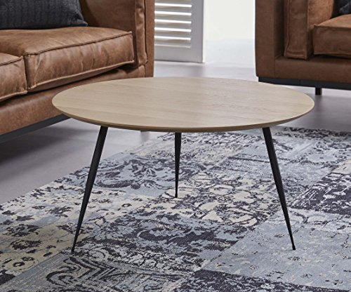 ComptoirXL Table Basse Design scandinave SINNLIG Diamètre 80 cm Chêne et Noir