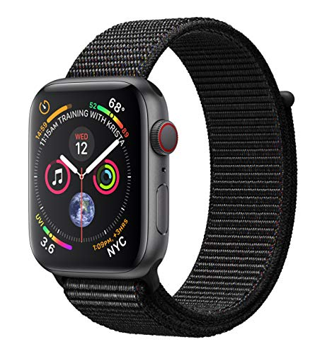 Apple Watch Series 4 (GPS + Cellular) 44 mm Aluminiumgehäuse, Space Grau, mit Sport Loop, Schwarz