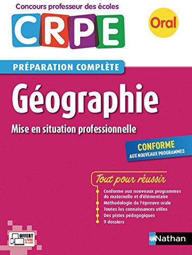 CRPE oral 2018. Géographie (mise en situation professionnelle)