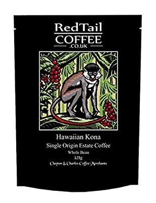 Hawaiian Kona Whole Bean Coffee 125g - from the Greenwell Private Reserve Estate in the Kona District of Hawaii - One of the most desirable and expensive coffees in the world by RedTail Coffee