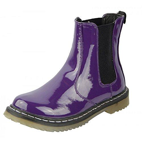 Kick scarpe da donna brevetto in da infilare Chelsea stile stivali alla caviglia Viola (viola)