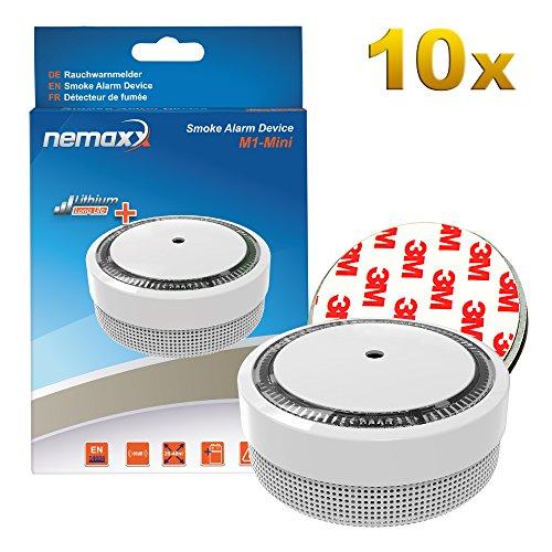 10x Nemaxx M1-Mini Rauchmelder weiß - fotoelektrischer Rauchwarnmelder nach neuestem VdS Standard...