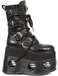 New Rock Hombres Metálico Negro Cuero Largo Zapatos - M.591.S2 (EU 42, Negro)