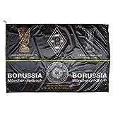 Unbekannt VFL Borussia Mönchengladbach Fohlenelf-Artikel-Hissfahne Erfolge-150 x 100 cm Fahne-Flagge, Schwarz