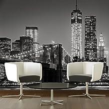 puente de Brooklyn Fotomurales El horizonte de la ciudad murales pared Blanco y Negro Decoración del hogar Disponible en 8 Tamaños Extra pequeño Digital