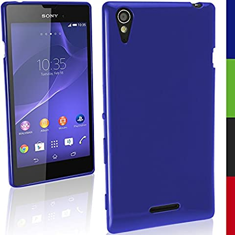 igadgitz sólido Azul Funda Brillo TPU Gel Para Sony Xperia T3 D5102 + Protector Pantalla