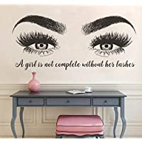 BRILLINT.YY Eyelashes Eyebrows Wall Sticker Beatuy Salon Quotes Vinyl Wall Decals Lashes Extension Winodow Art Poster Decor 95X42Cm