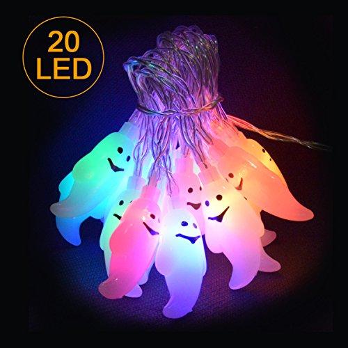 Geist LED iitrust Halloween Lichterkette Stromversorgung über Batterie 3D Halloween Lichterkette 2 Mitter 20er LED (Mehrfarbig Geist Lichte)