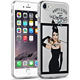 [ iPhone 7 Case ] - Carcasa Jammylizard Transparente De Silicona Para iPhone 7 Sketch Back Cover, AUDREY HEPBURN