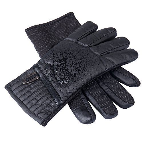 GLOUE Herren Handschuhe Warm Winterhandschuhe Wasserdicht Winddicht Rutschfest Abriebfest Touchscreen Outdoor-Aktivitäten Radfahren Skilaufen Schwarz