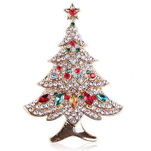 Olydmsky Brosche Legierung Gold farbige Diamanten Diamant Glas Weihnachtsbaum Brosche Männer und...