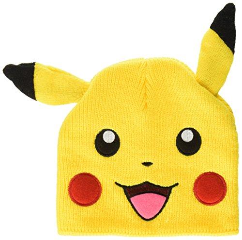 Pokemon Pikachu Beanie Mütze mit Ohren zu Spiel und Serie gelb