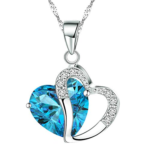 Shining Diva Platinum Plated Heart Shape Pendant Necklace For Girls