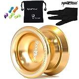 Magicyoyo Yostyle T8 Sombra de aleación de aluminio profesional yoyos Bolas Yoyo bola + 5 + Guantes Cuerdas juguete niños presentes regalos de la muchacha del muchacho-Amarillo