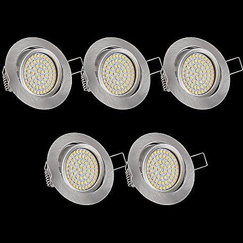 Lu-Mi® 5 x flache LED Einbaustrahler - Ultra Flach Einbaustrahler | 350 Lumen | 230V | 3,5W | Licht: Warmweiss 3200K | Gehäuse Rund | (Edelstahl