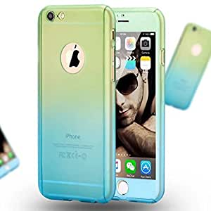 Sunny Fashion Gradient Color Full Protection 360 Degree Hard Case Cover for Iphone 5/5s - Green & Blue