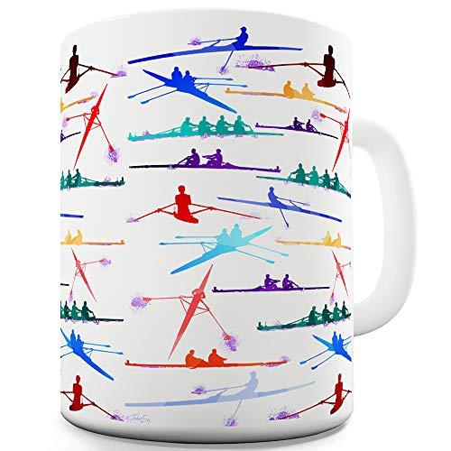 TWISTED ENVY Keramik-Tasse, Motiv Rowing Rainbow Collage 11 OZ weiß