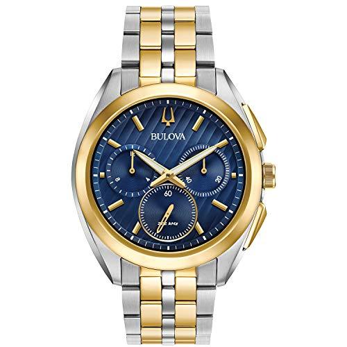 BULOVA CURV Homme 45MM Bracelet Acier Bicolore Saphire Quartz Montre 98A159