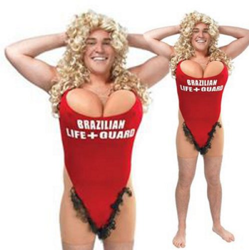Mens Pamela Lifeguard Pool Beach Babe Stag Night Party Fancy Dress Costume M/L by Star55