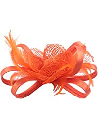 84748ebddf4 Fascigirl Pillbox Hat Feather Flower Headpiece Wedding Fascinator Corsage  Brooch Pin Hair Clip for Ladies Day