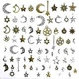 Qinlee Steampunk Anhänger DIY Handwerk Vintage Schmuck Basteln Teile Material Armbänder Ohrringe Zubehör Zufällige Stil (Uhren/Engelsflügel / Stern Mond) (73pcs)