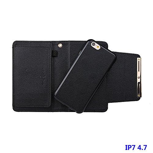 """xhorizon FM8 [Aktualisiert] 2 in 1 Premium Bling Leder Geldbörse Strass KnopfverschlussMagnetisch Car Mount Phone Halter Kompatibel Folio Case für iPhone 7 [4.7""""] Schwarz"""