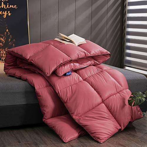 YOGAA Winter Crushed Velvet Duvet Thick Warm-Gewebe-Entwurf - Ultra Soft hypoallergen Samt Quilt, weich und atmungsaktiv, Quiet Sleep,Rot,Queen -