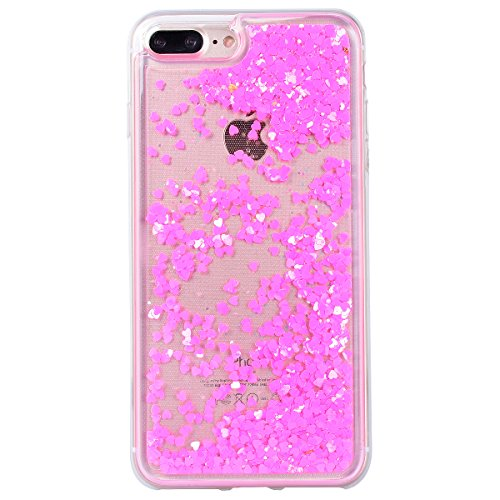 Yokata Coque iPhone 7 Plus Transparente Motif Liquide Paillettes Etui iPhone 7 Plus Silicone Souple Gel Case Bumper Antichoc Housse de Protection + 1*Stylet - Tour Eiffel Rose