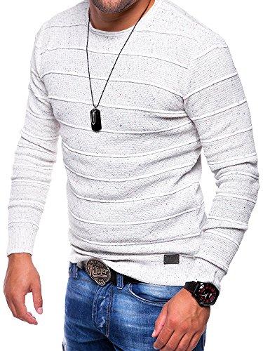 MT Styles Strickpullover Melange Pullover E-120 Weiß