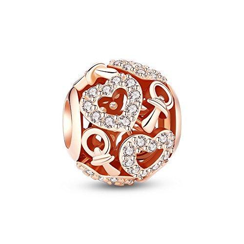 ca7605d70 heart bead bracelet gold plated charm bracelets. Glamulet Art Women's 925 Sterling  Silver Clear Swarovski Crystal Rose Gold Plated Heart Lovely Nipple Baby