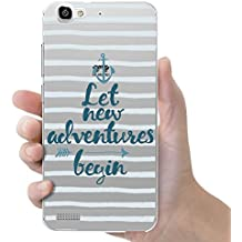 "Funda carcasa TPU Transparente para Huawei P8 Lite Smart diseño ancla ""let new adventures begin"""