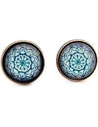 Miss Lovie Damen Ohrstecker Blatt Ohrringe Cabochon 12mm Modeschmuck Schmuck Blattmotiv Blau Türkis Bronze