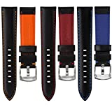 Geckota® Genuine Italian Leather Padded Sport Watch Strap, Black with Contrasting Stitching