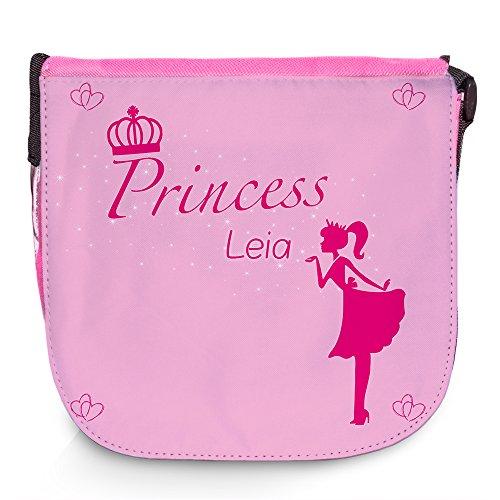 Umhängetasche für Kinder mit Namen Leia und schönem Prinzessin-Motiv | Schultertasche für Mädchen (Leia Prinzessin Namen)
