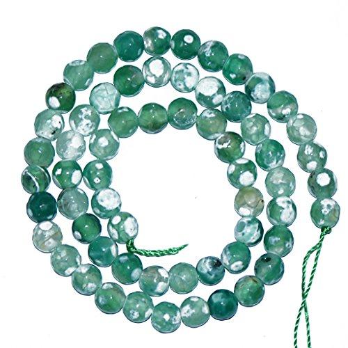 Filo Di Gemma Perline Sfuse 6mm Pietre Agata Verde Per Collana Bracciale