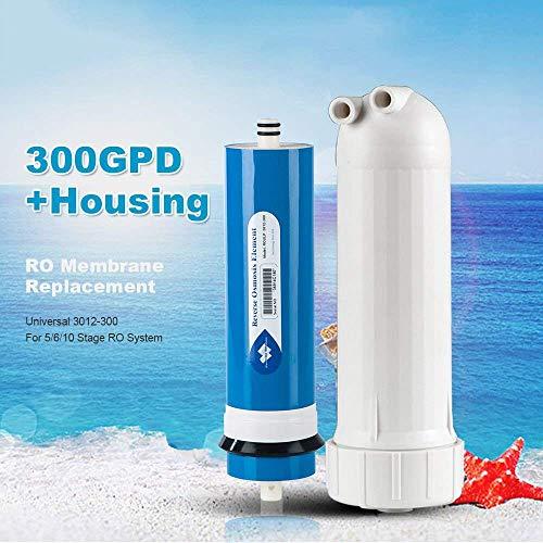Alberts Filter 200/300/400gpd Umkehrosmose RO Filter Membran Element, Wasser Filter Ersatz-RO Systemen 300 GPD + Housing + 3 Fittings blau