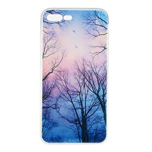 iPhone 7 Plus Ultra Mince Fine Doux TPU Transparente Original Peinture Colorisée Serie - Anti choc Coque Case Etui Protection pour iPhone 7 Plus (5.5 inch) - Pivoine rose color-5