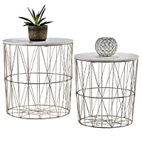YourHome 2 Metal Wire Coffee Tables, Geometric Design, Occasional Side Table with Round Removable Top for Storage (Rose Gold)