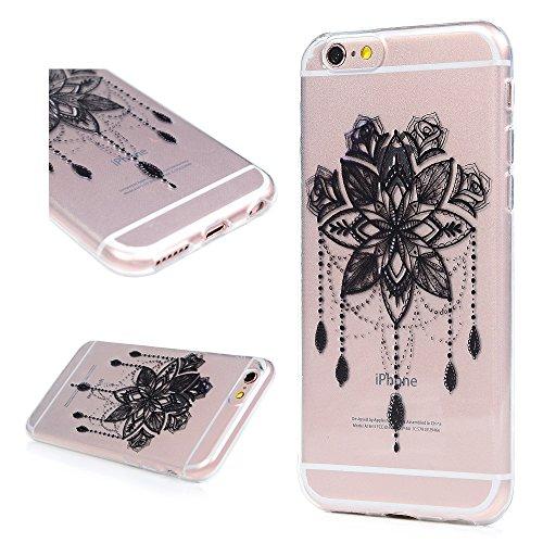 iPhone 6 / 6s Cover Silicone, Custodia Morbida TPU per iPhone 6/ 6s - BADALink Anti Scratch Ultra Slim Case Protettiva - Totem Nero Black Dreamcatcher