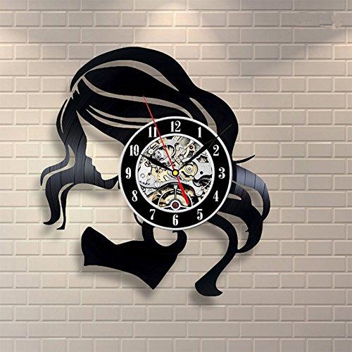 OOFAY Clock@ Wanduhr aus Vinyl Schallplattenuhr Jahrgang Schönes Mädchen Karikatur Logo Design-Uhr Wand-Deko Vintage Familien Zimmer Dekoration Durchmesser 30 cm