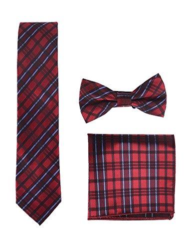 WANYING Herren Klassische 6 * 12cm Fliege & 6cm Schmale Krawatte & 22 * 22 cm Einstecktuch 3 in 1 Sets - Kariert Rot Blau Dunkelrot - Rot Karierte Einstecktuch