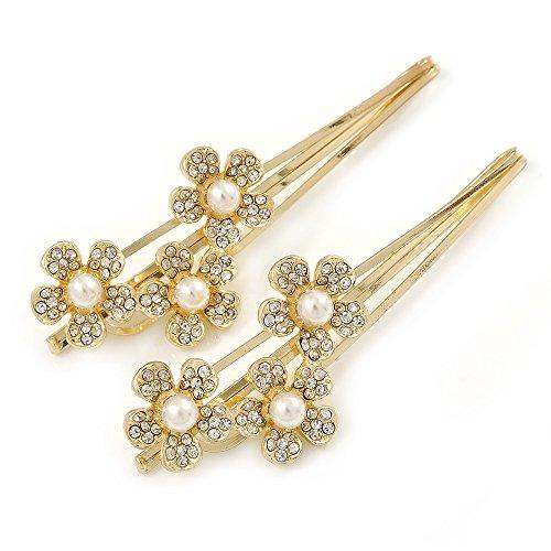 2-de-novianovia-Crystal-Crystal-flores-perlas-pelo-Gripsdiapositivas-en-oro--65-mm-across
