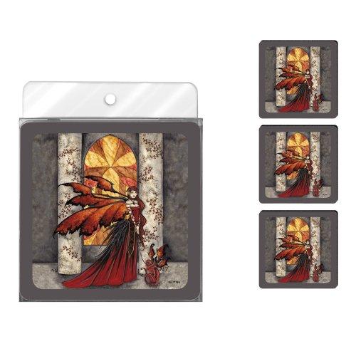 Tree-Free Greetings nc37594Amy braun Fantasy 4er Pack Künstlerische Untersetzer Set, Scarlet Monkey Fairy