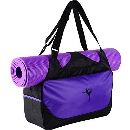Etopfashion wasserdichte Fitness-Tasche, Rucksack, Umhängetasche mit verstellbaren Riemen (nur Tasche), mit Halterung für Yoga-Matte, damen, violett