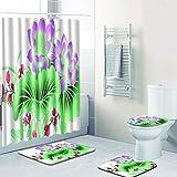 SLGJYY Duschvorhang Badezimmermatte Kombination Vier Sätze von Toiletten-WC-Teppich Duschmatte Matten