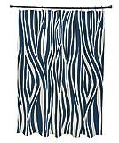 E von Design Holz Streifen Vorhang für die Dusche, Polyester, marineblau, Standard