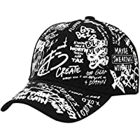 Graffiti Baseball Hat Hombres Mujeres Casual Cartoon Outdoor Snapback Sun Caps Moda Long Belt Cap-Black