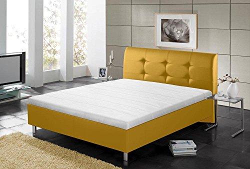 lifestyle4living Polsterbett, Liegefläche 140 x 200 cm, in gelb Kunstleder, Füße in Chromoptik