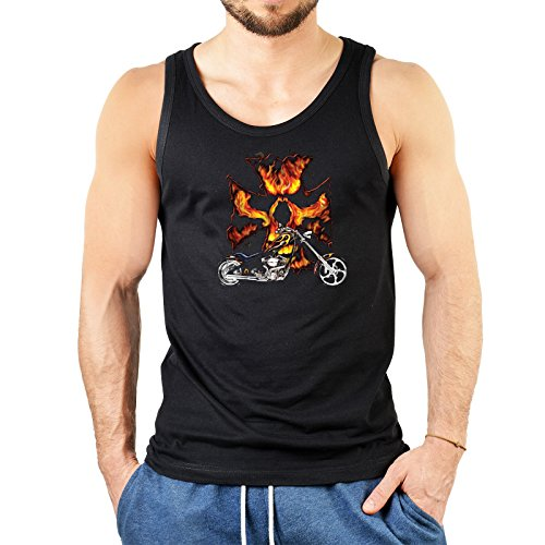 Biker mit Flammen Motiv Träger Shirt : Biker Flammen -- Herren Trägershirt Farbe: schwarz Schwarz